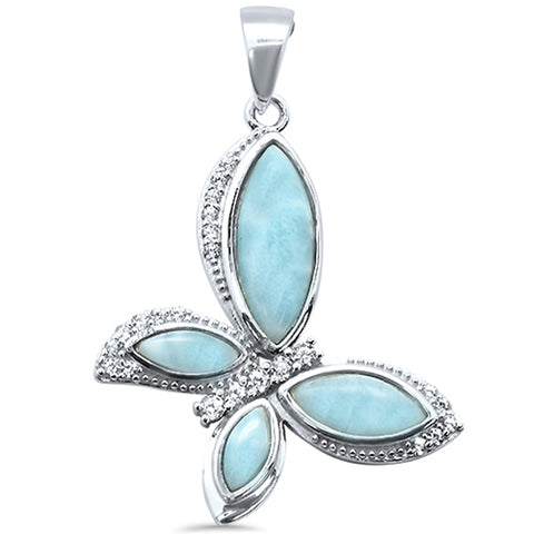 Natural Larimar & Cubic Zirconia Butterfly .925 Sterling Silver Pendant