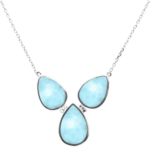 "New Pear Natural Larimar .925 Sterling Silver Pendant Necklace 16""+1"" Long"