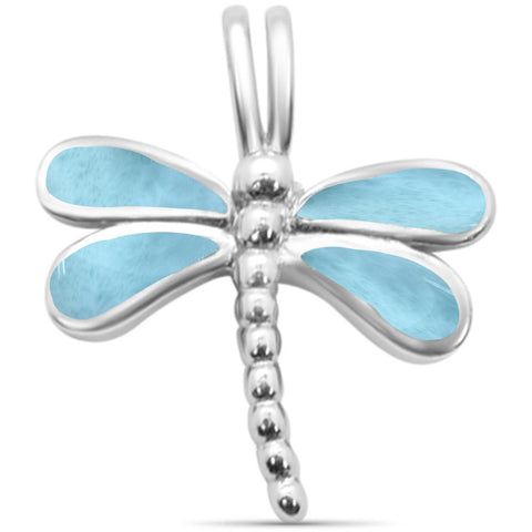 Natural Larimar Dragonfly .925 Sterling Silver Pendant