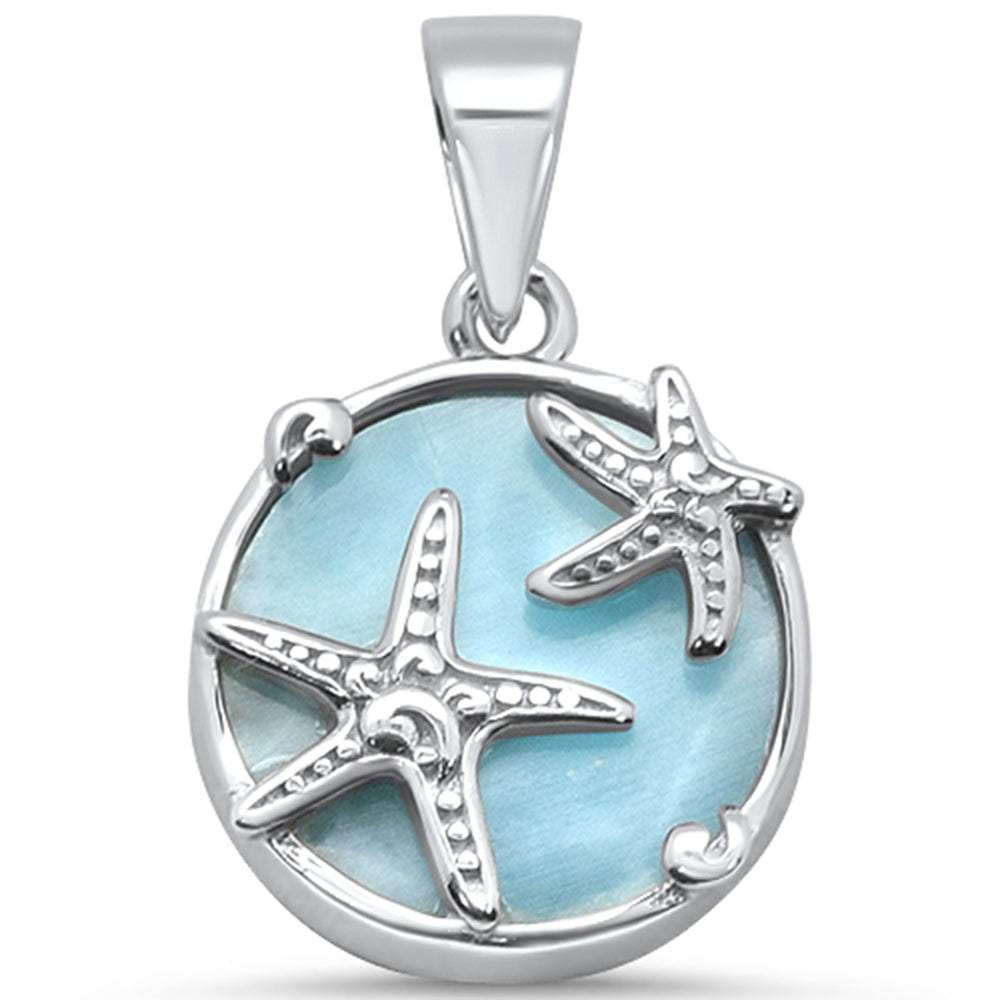 Natural Larimar Starfish .925 Sterling Silver Charm Pendant
