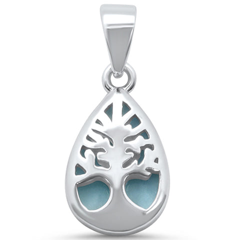 Natural Larimar Tree of Life .925 Sterling Silver Pendant