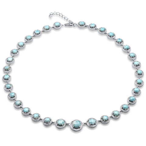 Natural Larimar .925 Sterling Silver Necklace