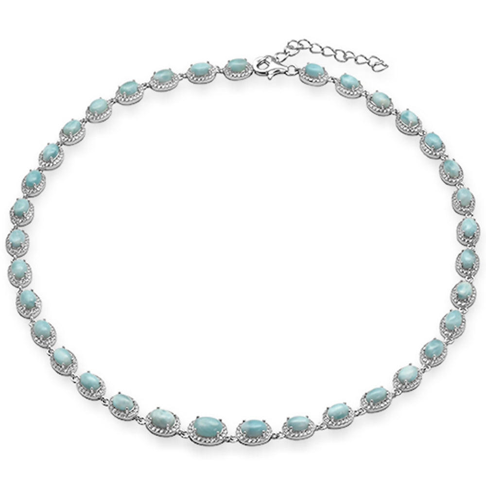 "Natural Larimar & Cubic Zirconia .925 Sterling Silver Necklace 16"" Long"
