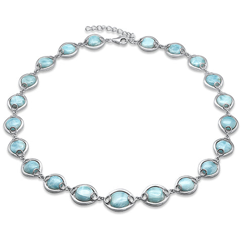 "Natural Larimar .925 Sterling Silver Necklace 16"" + 1.5"" Ext"