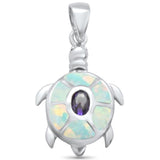 Amethyst & White Opal Turtle .925 Sterling Silver Pendant