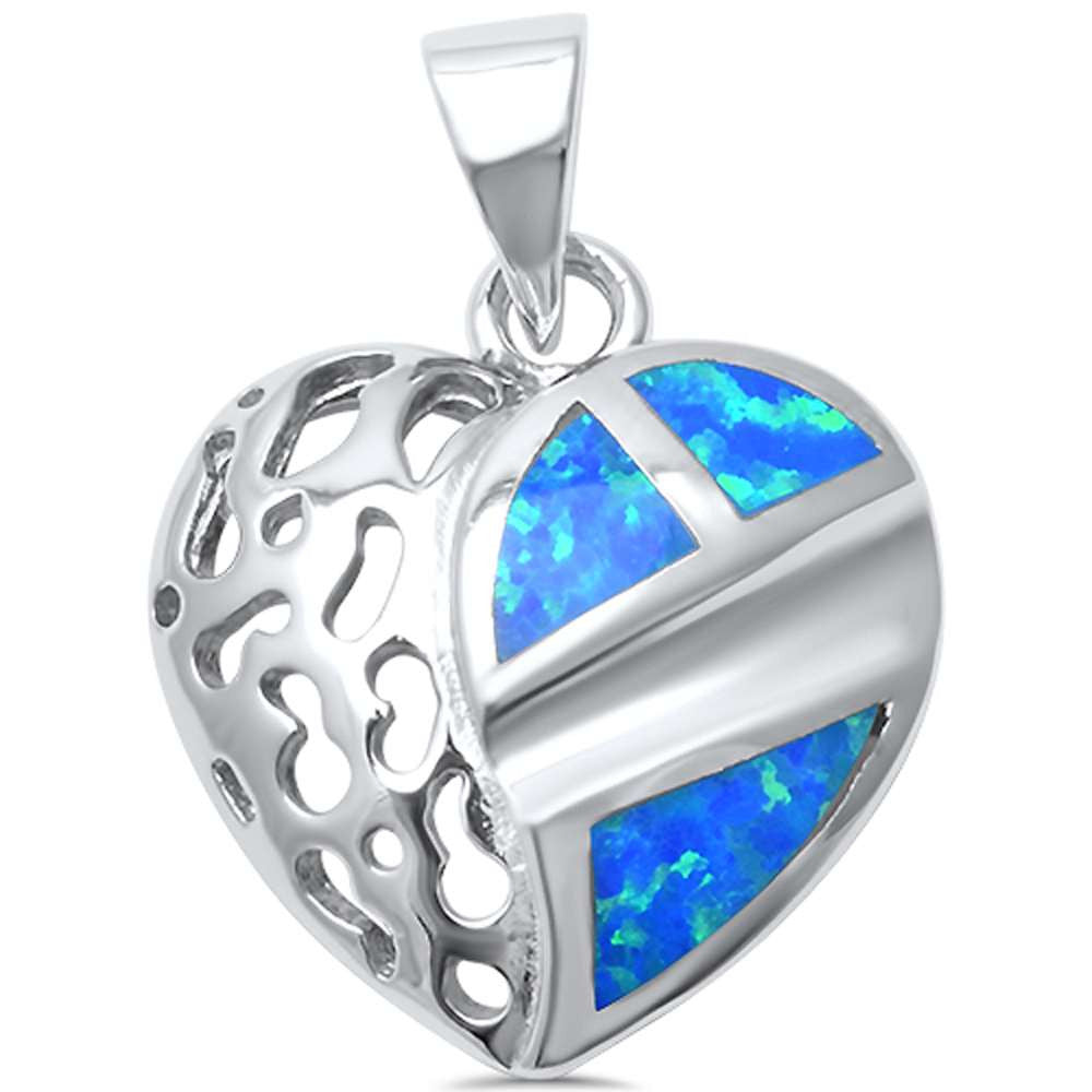 Blue Opal Heart Shape  .925 Sterling Silver Pendant