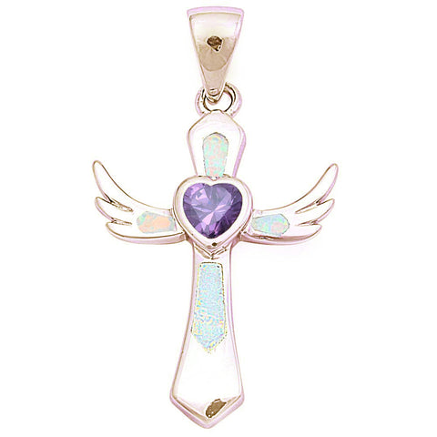 Yellow Gold Plated White Opal & Amethyst Wings Cross .925 Sterling Silver Pendant