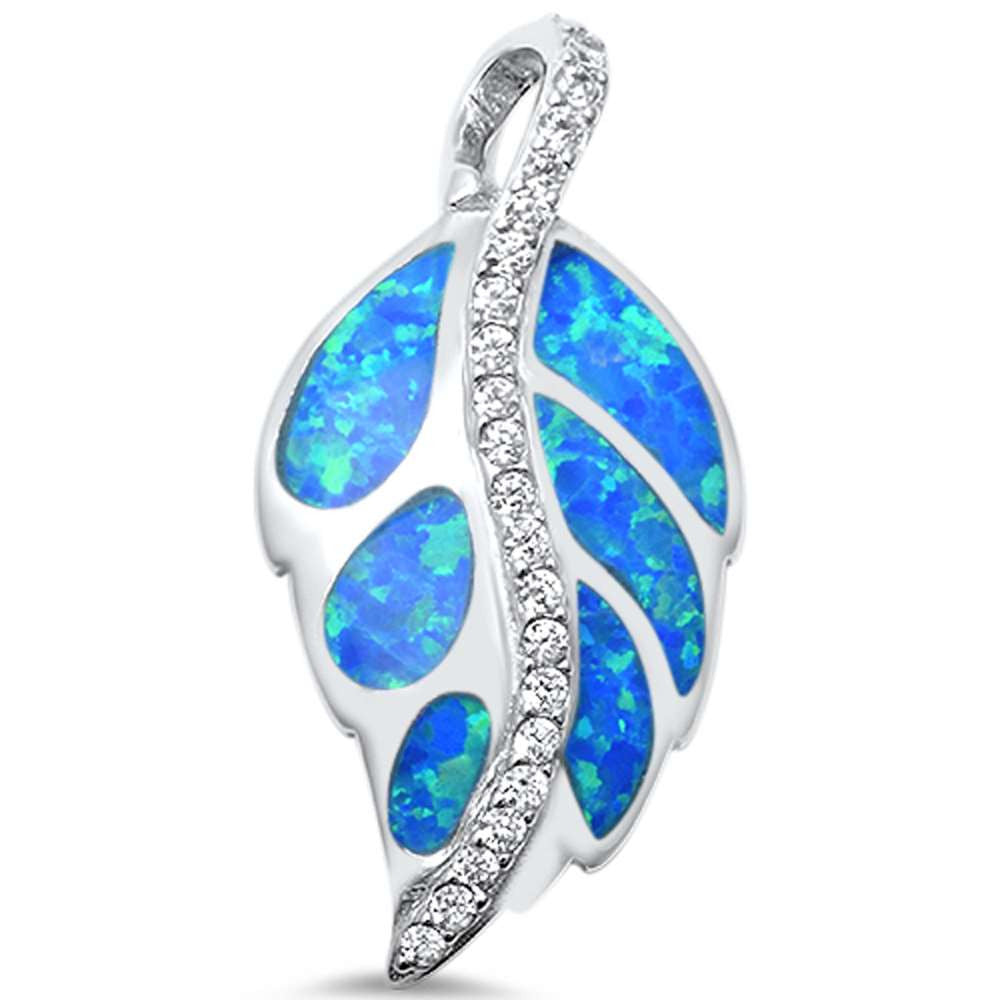 <span>CLOSEOUT!</span> Leaf Design Lab Created Blue Opal and CZ .925 Sterling Silver Pendant