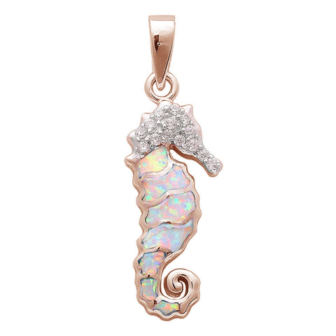 Rose Gold Plated White Opal & Cubic Zirconia Seahorse .925 Sterling Silver Pendant