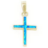 Yellow Gold Plated Blue Opal Simple Cross .925 Sterling Silver Pendant