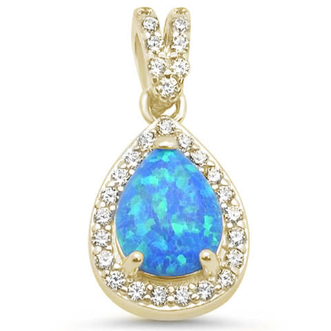 Yellow Gold Plated Blue Opal & Cubic Zirconia .925 Sterling Silver Pendant