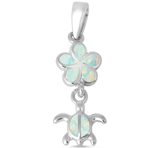 White Opal Plumeria and Turtle .925 Sterling Silver Charm Pendant