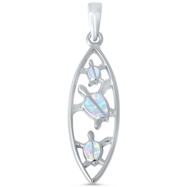 Lab Created White Opal Turtle .925 Sterling Silver Pendant
