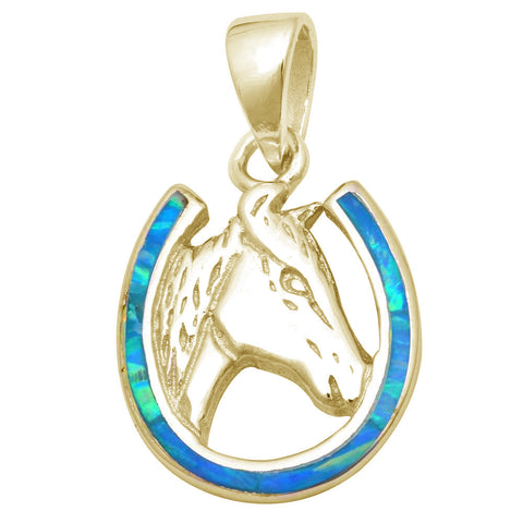 Yellow Gold Plated Blue Opal Horse .925 Sterling Silver Pendant