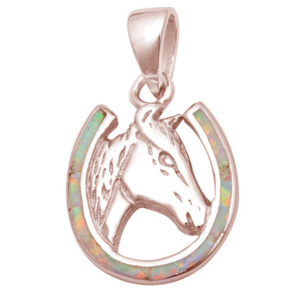 Rose Gold Plated Pink Opal Horse .925 Sterling Silver Pendant