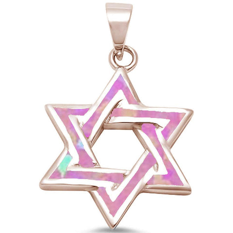 Rose Gold Plated Pink Opal Star of David Design .925 Sterling Silver Pendant