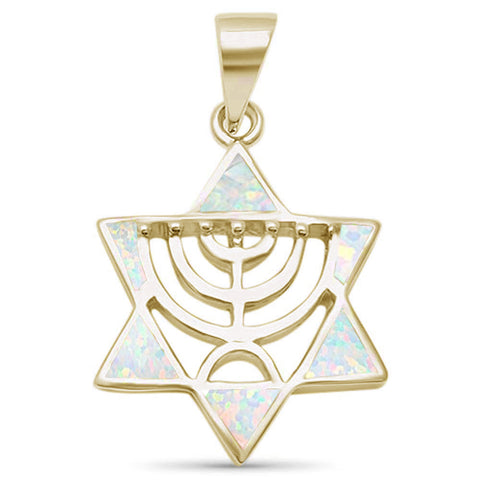 Yellow Gold Plated White Opal Minorah Jewish Star of David .925 Sterling Silver Pendant
