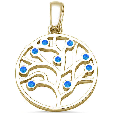 Yellow gold Plated Blue Opal Tree of Life .925 Sterling Silver Pendant