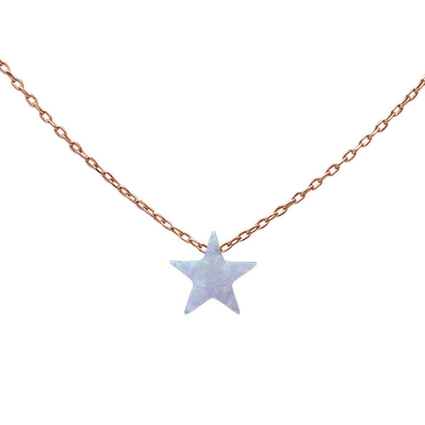 "Rose Gold Plated White Opal Star .925 Sterling Silver Pendant Necklace 17""+2 Ext"