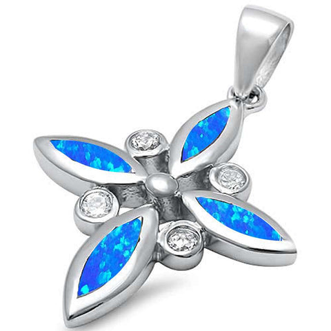 Lab Created Blue Opal & Cz Cross .925 Sterling Silver Pendant