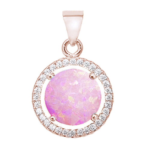 Rose Gold Plated Round Created Pink Opal & Cubic Zirconia .925 Sterling Silver Pendant