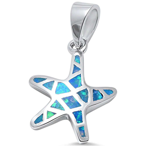 Blue Opal Starfish .925 Sterling Silver Pendant