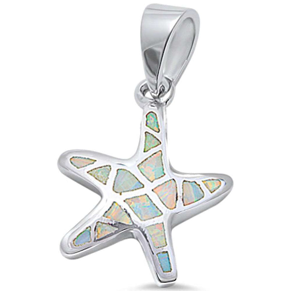 White Opal Starfish .925 Sterling Silver Pendant