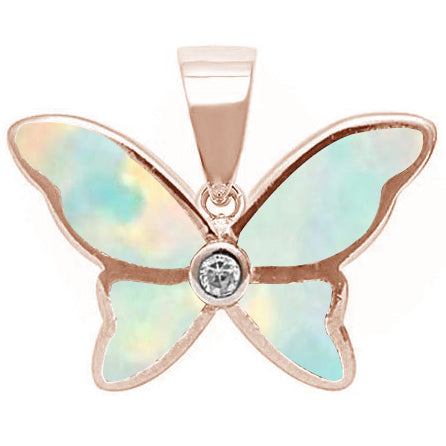 Rose Gold Plated White Opal & Cubic Zirconia Butterfly .925 Sterling Silver Pendant