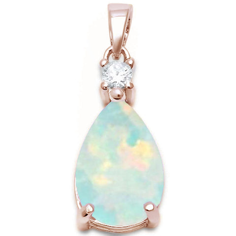 Rose Gold Plated Pear Shape White Opal & Cubic Zirconia .925 Sterling Silver Pendant