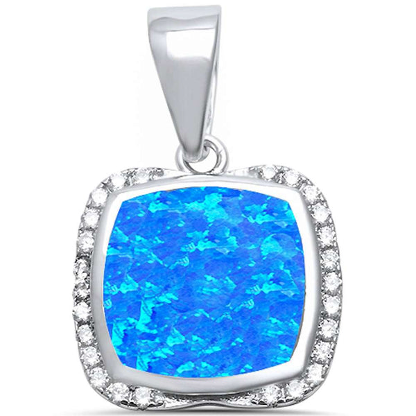 Cushion Shape Blue Opal & Cubic Zirconia .925 Sterling Silver Pendant