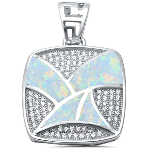 White Opal & CZ Square .925 Sterling Silver Pendant