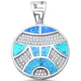 Blue Opal Round CZ  .925 Sterling Silver Pendant
