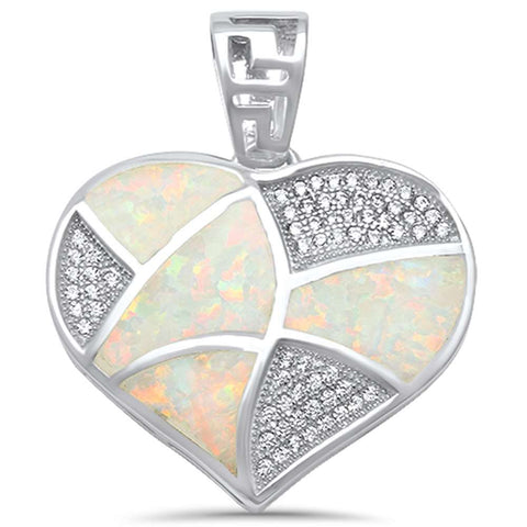 Created White Opal & Cubic Zirconia Heart .925 Sterling Silver Pendant