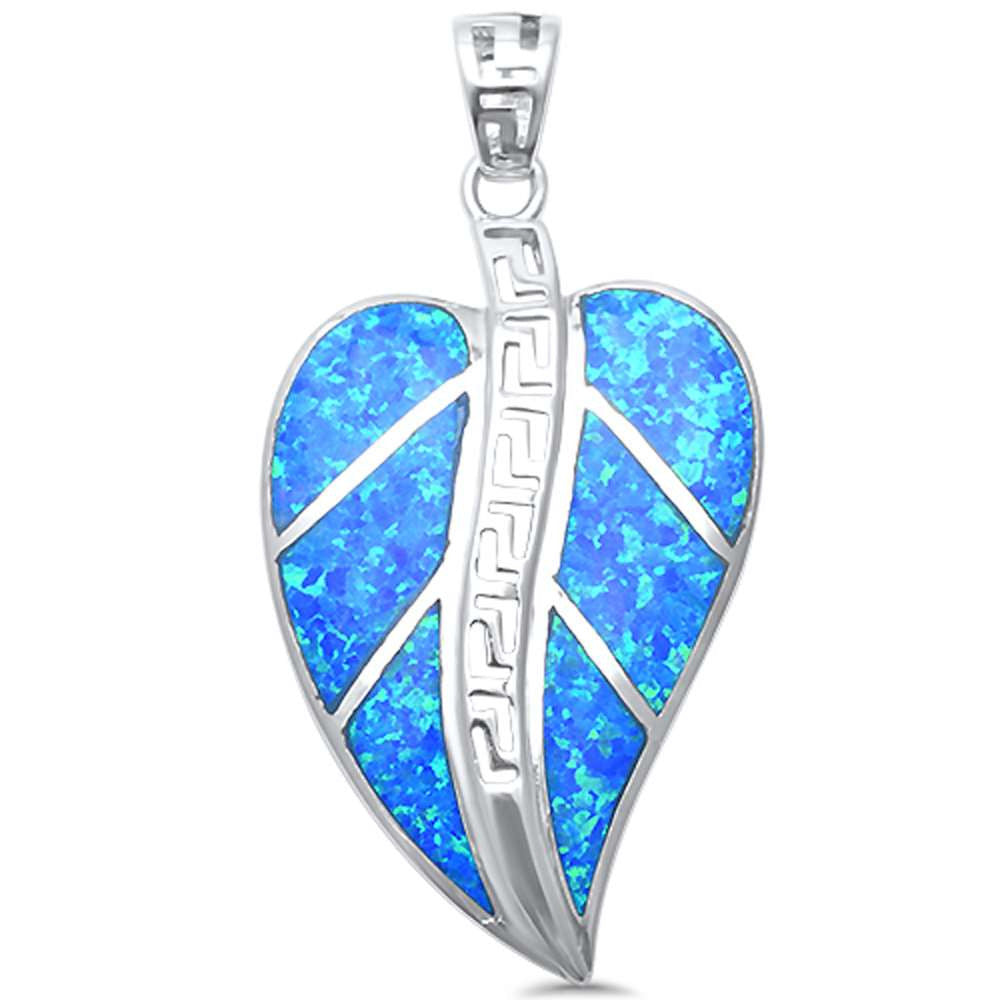 <span>CLOSEOUT!</span>Blue Opal Leaf Shape  .925 Sterling Silver Pendant