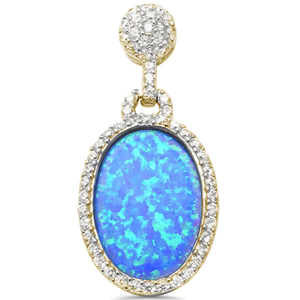 Unique! Yellow Gold Plated Blue Opal Drop Dangle .925 Sterling Silver Pendant