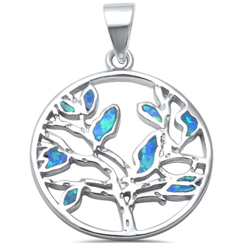Trendy! Tree of Life Blue Opal  .925 Sterling Silver Pendant