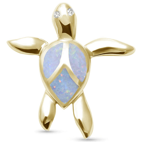 Yellow Gold Plated White Opal Turtle .925 Sterling Silver Pendant