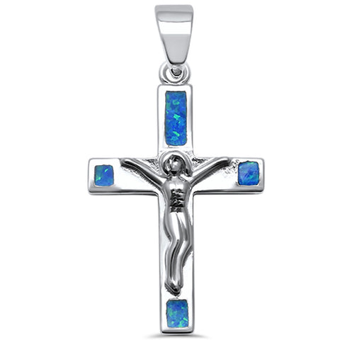 Silver & Blue Opal Jesus Crucifix Cross .925 Sterling Silver Pendant