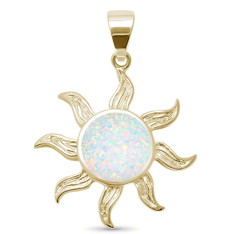 Yellow Gold Plated White Opal Surf Celestial Sun .925 Sterling Silver Pendant