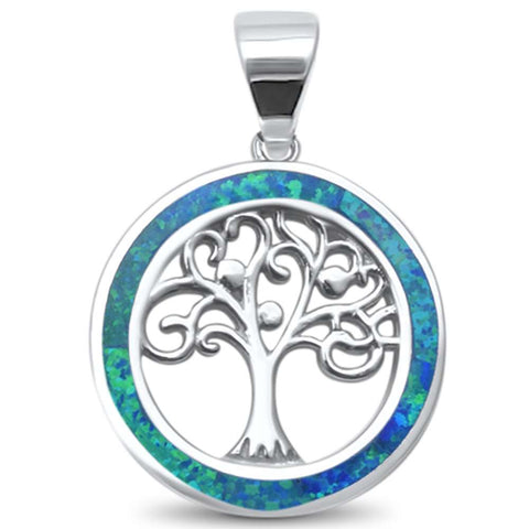 Blue Opal Family Tree of Life Whimsical .925 Sterling Silver Charm Pendant