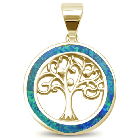 Yellow Gold Plated Blue Opal Family Tree of Life Whimsical .925 Sterling Silver Pendant