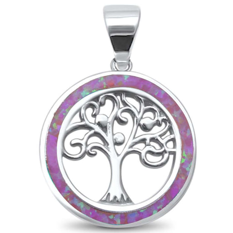 Pink Opal Family Tree of Life Whimsical .925 Sterling Silver Charm Pendant