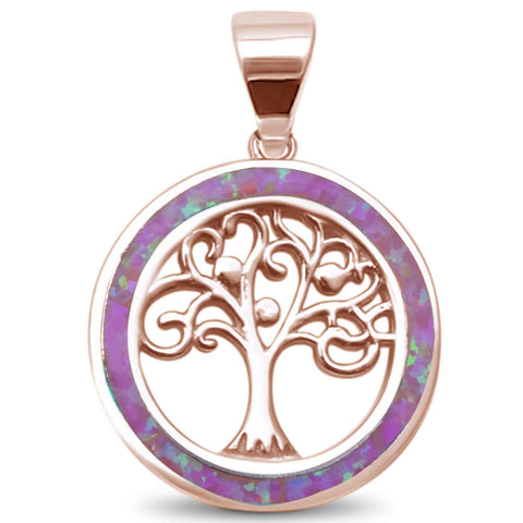 Rose Gold Plated Pink Opal Family Tree of Life .925 Sterling Silver Pendant