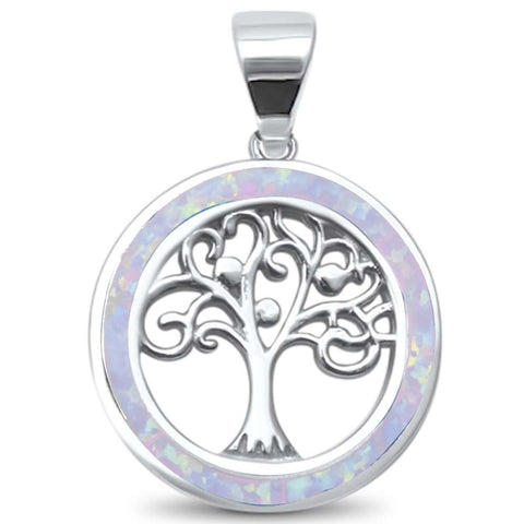 White Opal Family Tree of Life Whimsical .925 Sterling Silver Charm Pendant