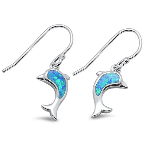 Blue Opal Dolphine Dangle .925 Sterling Silver Earrings