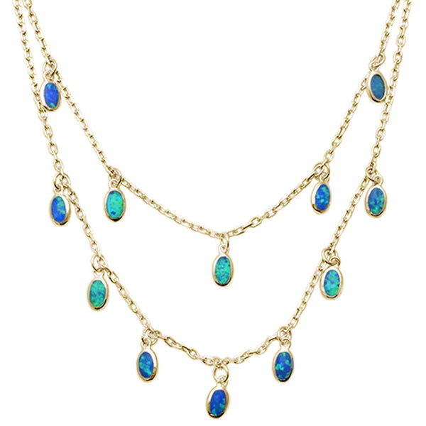 Yellow Gold Plated Blue Opal Waterfalls .925 Sterling Silver Necklace
