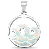 White Opal Mini Waves .925 Sterling Silver Pendant
