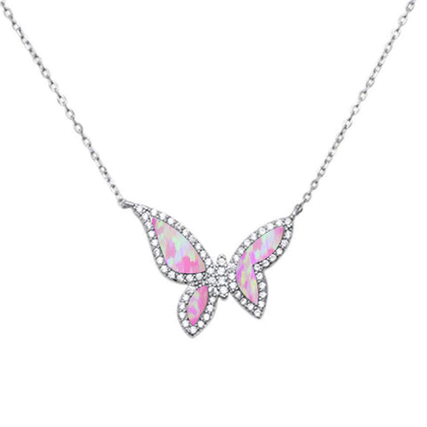 Pink Opal Butterfly .925 Sterling Silver Charm Pendant
