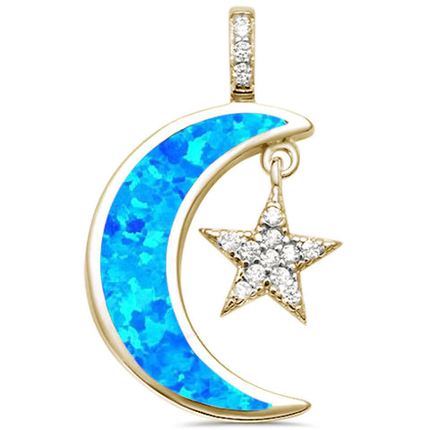 Yellow Gold Created Blue Opal Crescent Moon & Star CZ .925 Sterling Silver Pendant