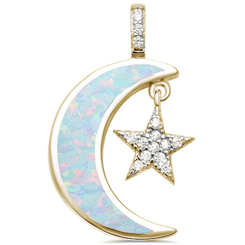 Yellow Gold Plated White Opal & Cz Crescent Moon & Star .925 Sterling Silver Pendant